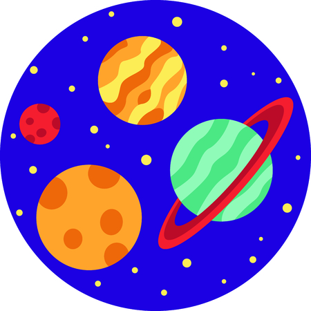 This circle of planets are a perfect image to add to a design for a child.