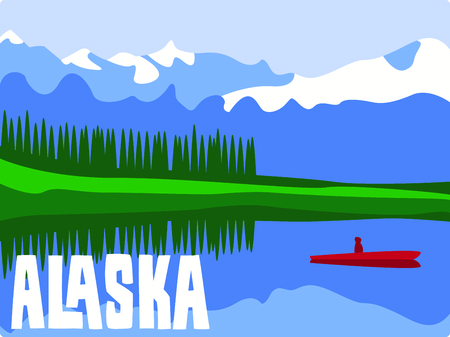 Fishing in a mountain lake is a relaxing day.  Include this image with your design. Çizim