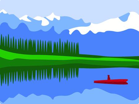 Fishing in a mountain lake is a relaxing day.  Include this image with your design. Ilustrace