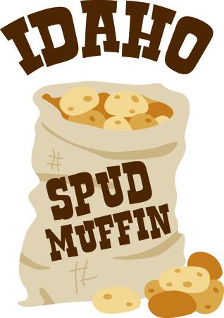 Aardappelen zijn een geweldige aanvulling op een zelfgemaakte maaltijd. Voeg dit ontwerp aan servetten voor uw cafe!