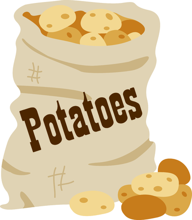 Potatoes are a great addition to a homemade meal. Add this design to napkins for your cafe!