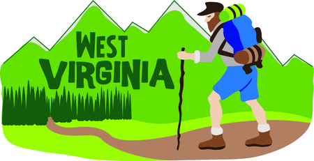 trek: West Virginia is a beautiful place to go hiking.  This image will be perfect for your design. Illustration