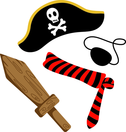 crossbone: A boys perfect Halloween costume to dress up as a pirate.  Get this image for your next design.