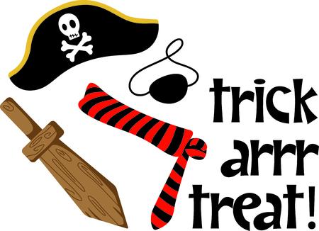 A los niños traje perfecto de Halloween para vestirse como un pirata. Obtener esta imagen para su próximo diseño. Foto de archivo - 43783461