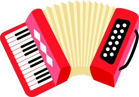 Ein Akkordeon macht einen schönen Klang bei der Wiedergabe. Das Bild auf Ihr nächstes Design. Standard-Bild - 43783606
