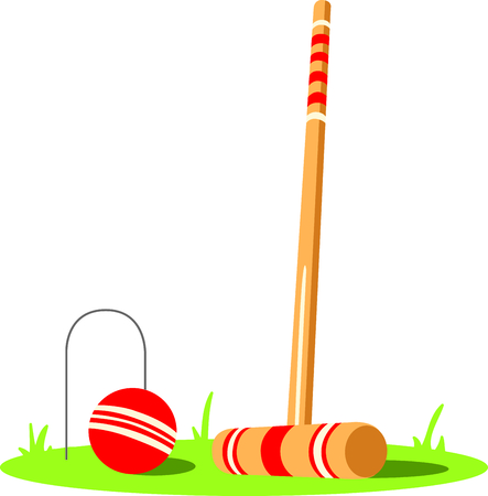 wicket: The game of croquet is a fun outdoor activity.  Use this image for your next design.
