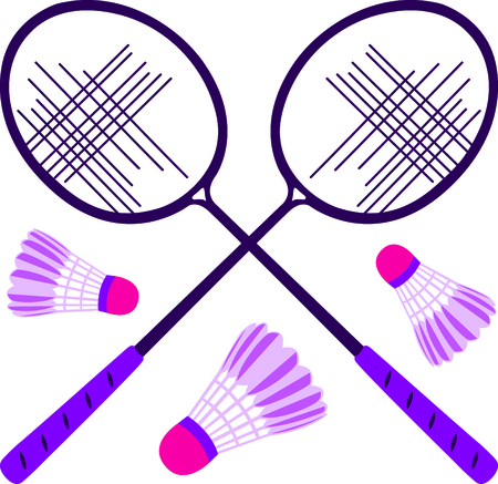 The game of badminton is a fun outdoor activity.  Use this image for your next design. Illustration