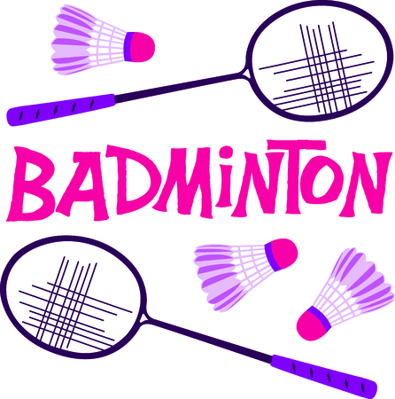 The game of badminton is a fun outdoor activity.  Use this image for your next design. 矢量图像