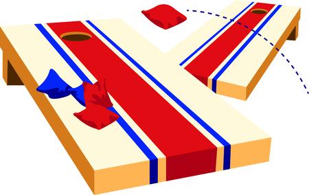 Das Spiel der Wurf ist eine unterhaltsame Aktivität im Freien. Verwenden Sie dieses Bild für Ihren Entwurf. Standard-Bild - 43786114