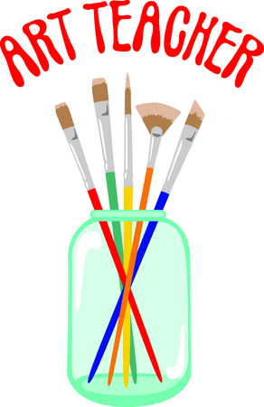 paint can: An art teacher looks for kids that color outside the lines.  A perfect gift to thank an art teacher for inspiring them. Illustration