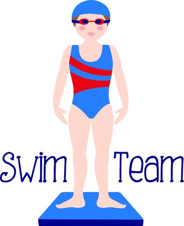 당신의 특별한 수영 선수가 스포츠를 좋아한다는 것을 상기하십시오. 팀에 딱! 스톡 콘텐츠 - 43786829