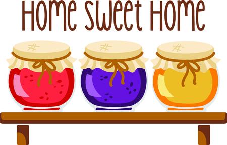Homemade cooking jam illustration  Çizim