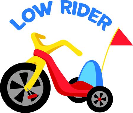 driewieler: Gebruik dit beeld van een driewieler in het ontwerp van uw kind.
