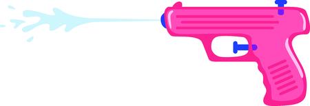 Gebruik dit beeld van een water pistool in het ontwerp van uw kind. Stock Illustratie
