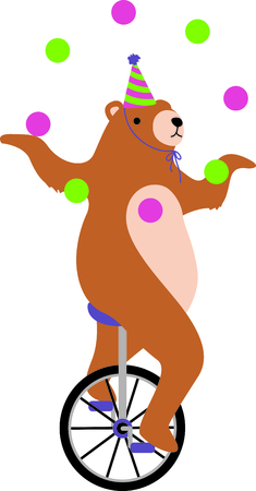 one wheel bike: Use this image of unicycle bear in your design. Illustration