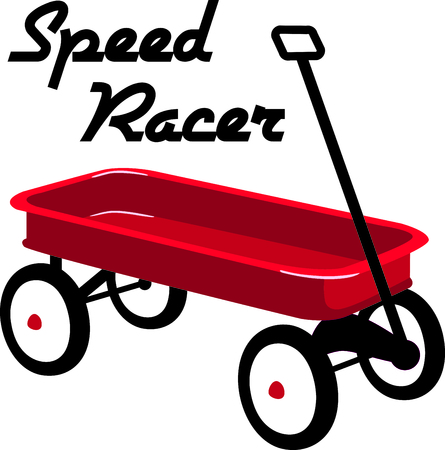 pull toy: Utilice esta imagen de un carro rojo en su diseño. Vectores