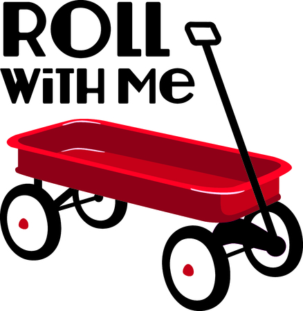 Use this image of a red wagon in your design.