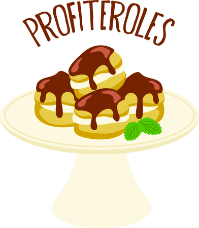 profiterole: Homemade cooking is just too good to pass by.  Bring some sweet inspiration to your kitchen with this design! Illustration