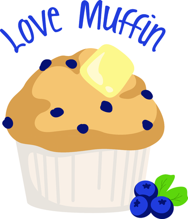 blueberry muffin: Homemade cooking is just too good to pass by.  Bring some sweet inspiration to your kitchen with this design! Illustration