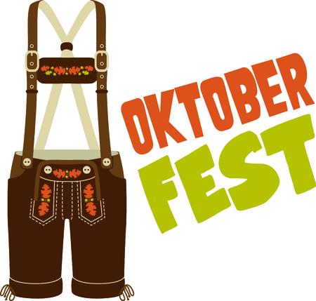 Lederhose is a cute design to celebrate Octoberfest. Illustration