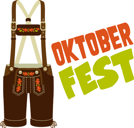 Lederhose is a cute design to celebrate Octoberfest. Illustration