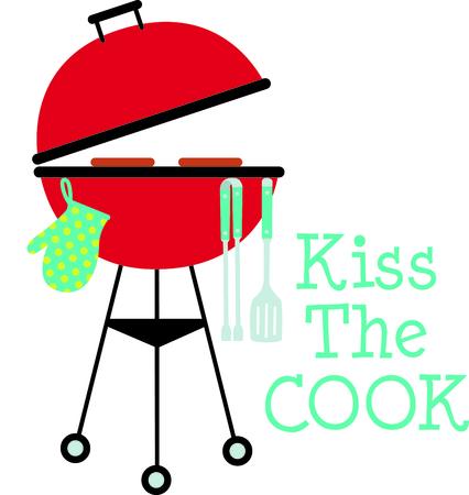 summer day: Cookin barbacoa en un d�a de verano agradable disfrutando de la comida campestre de la familia! Tiempo para algunos pinchos. Perfecto para a�adir a su pr�xima fiesta de chupar rueda! Vectores