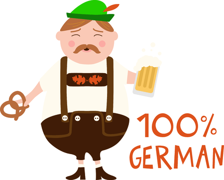 The German man is a perfect design to celebrate Octoberfest.