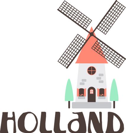 Herinner me de reis naar Nederland met deze mooie molen. Stock Illustratie