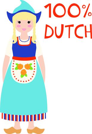 Herinner me de reis naar Nederland met dit kleine Nederlandse meisje. Stock Illustratie