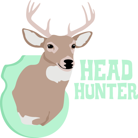taxidermy: Use this image of a trophy buck in your hunting design. Illustration