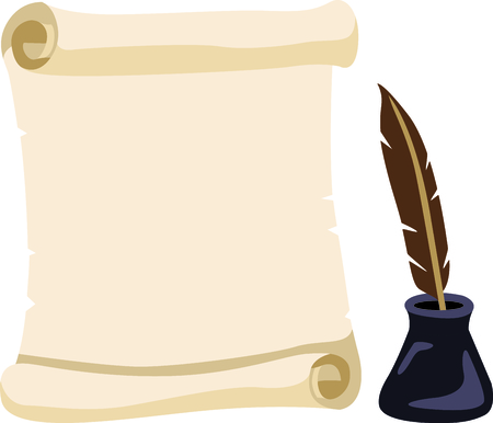 Celebrate your history with this scroll and quill. Zdjęcie Seryjne - 43844007