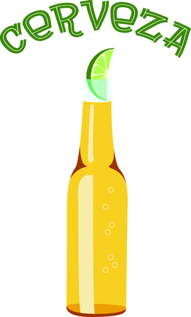 long neck: Its 5 oclock somewhere.  Grab a beer and watch the game. Illustration