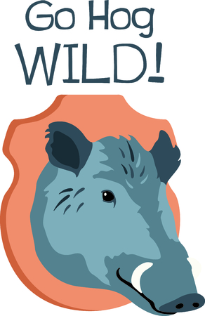 wild hog: Use this image of a trophy in your hunting design.