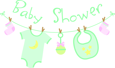 bambino: Planning a baby shower will not be complete without this adorable design.  Add it to your favorite items for party favors.  They will love it! Illustration
