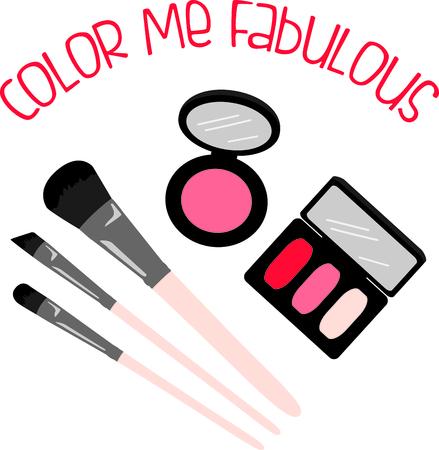 make up brush: Rel�jese por un d�a en el spa! Obtener camisas a juego para cada uno en su grupo cuando vayas juntos por d�a chicas! Todo el mundo va a encantar! Vectores