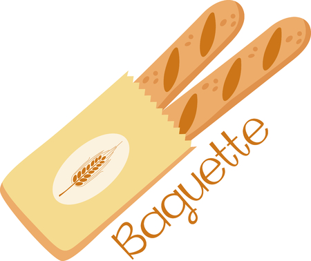 Krijg dit beeld grote Franse brood voor uw horecazaak. Stock Illustratie