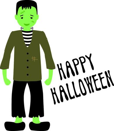 무서운 Frankenstein으로 할로윈을 장식하십시오. 일러스트