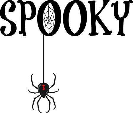 무서운 거미와 할로윈 장식.