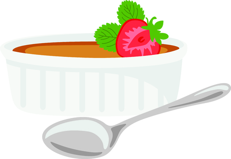 flan: Homemade cooking is just too good to pass by.  Bring some sweet inspiration to your kitchen with this design! Illustration