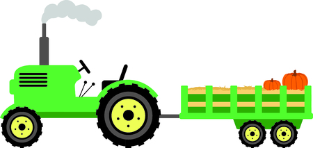 wagon wheel: tractor image to your next design. Illustration