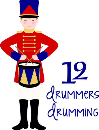 12 days of christmas: A favorite holiday song, The tweleve Days of Christmas. The twelfth day, 12 drummers drumming.