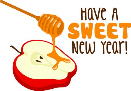 rosh hashanah: Celebrate Rosh Hashanah with this sweet apple and honey design.