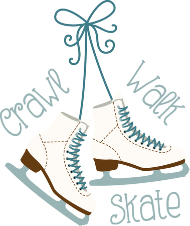 Use these hanging ice skating boots for the fan of ladies figure skating. Ilustrace