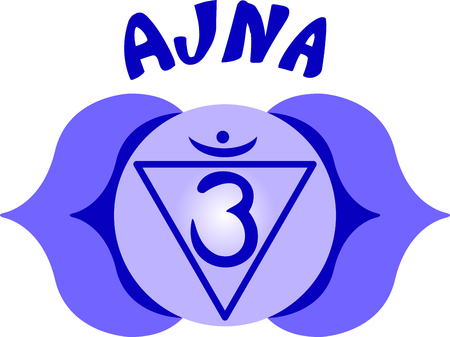 ajna: Chakra triangle for Hindu religious sayings and symbols.