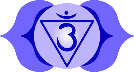 ajna: Chakra triangle for Hindu religious sayings and symbols.