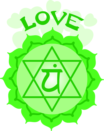 anahata: Chakra star for Hindu religious sayings and symbols. Illustration