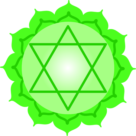 sanskrit: Chakra star for Hindu religious sayings and symbols. Illustration