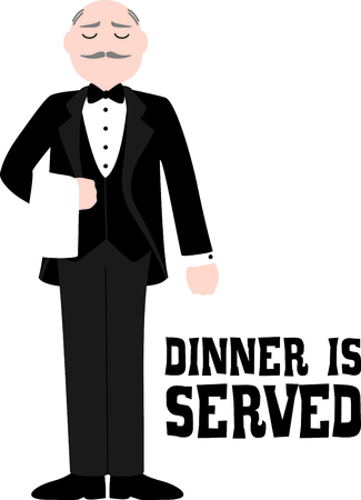 restaurant staff: Use this image of the waiter in a restaurant in your next design. Illustration