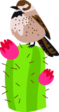 az: Use this image of a Cactus Wren in your next design. Illustration