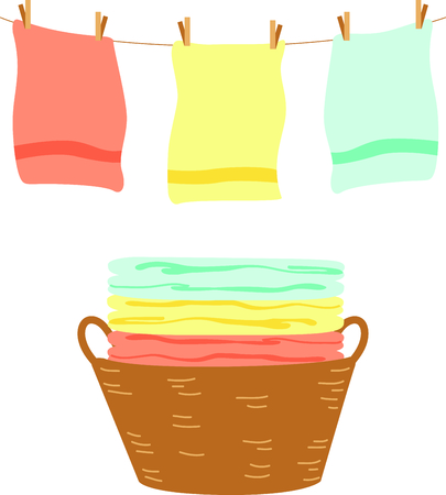clothes line: This clothes line is the perfect image for your next design. Illustration